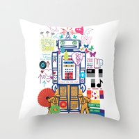 coldplay Throw Pillows featuring we live in a beautiful world by Giulia De grazi