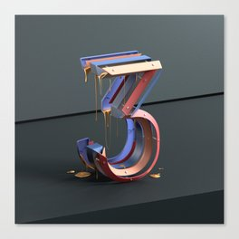 Dripping Number Three Canvas Print