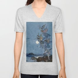 """Elves"" Fairy Tale Art by Edmund Dulac Unisex V-Neck"