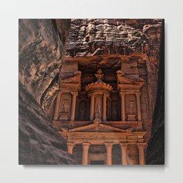Petra Al Khazneh Treasury Temple Ruins Entryway Faraheed Photograph Metal Print
