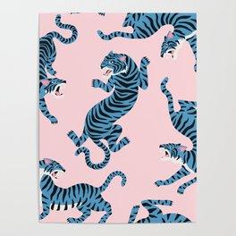 Pastel Pink & Blue Tiger Pattern Poster