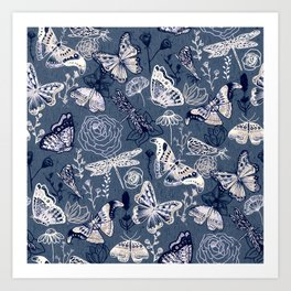 Dragonflies, Butterflies and Moths With Plants on Navy Art Print