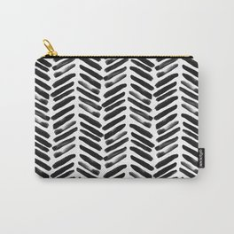 Simple black and white handrawn chevron - horizontal Carry-All Pouch