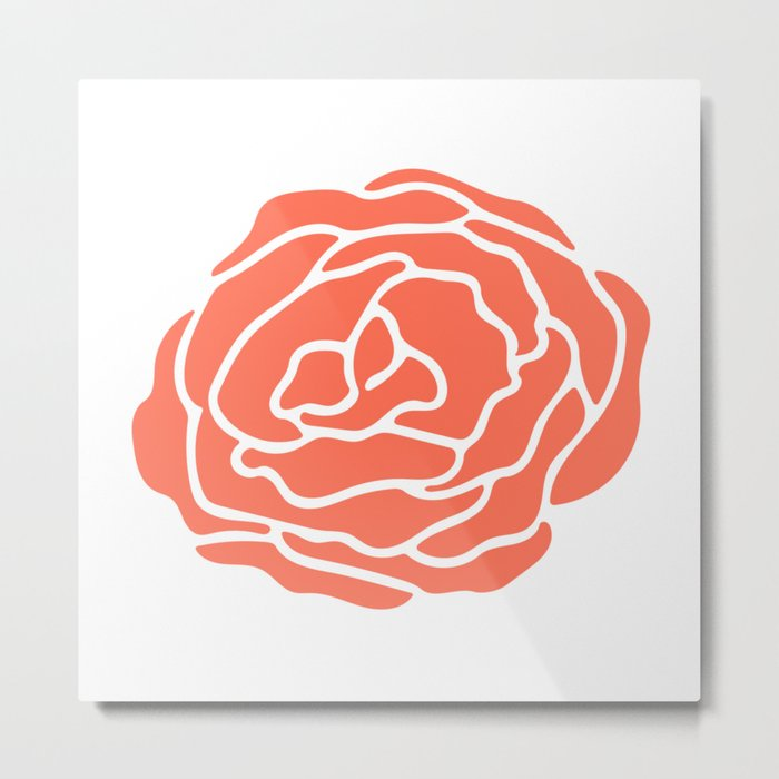 Rose Deep Coral on White Metal Print