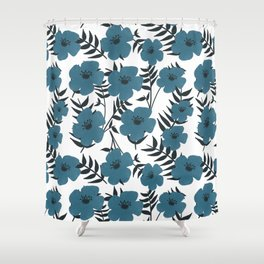 Blue Flowers with Banana Leaves Shower Curtain