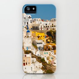 Colorful Seaside Santorini Island Homes iPhone Case