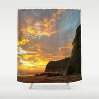 coyote Shower Curtains featuring Coyote Beach by Andooga Design