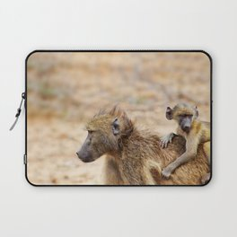 Cute monkey baby and mother Laptop Sleeve