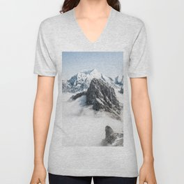 Mountain Tops Above Clouds And Snow Unisex V-Neck