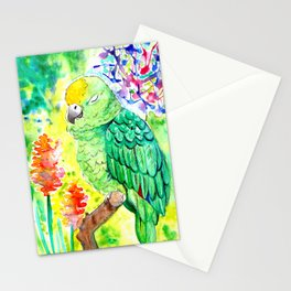 Sleepy Parrot || Watercolor and Ink Painting Stationery Cards