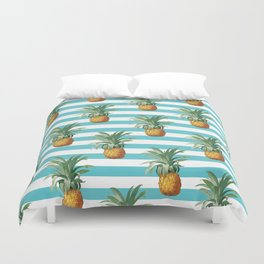 Pineapples stripes Exotic Teal Duvet Cover