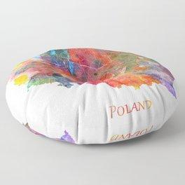 Poland Map Watercolor by Zouzounio Art Floor Pillow