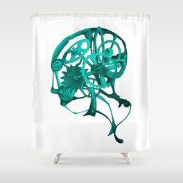Gear Head Blue Shower Curtain