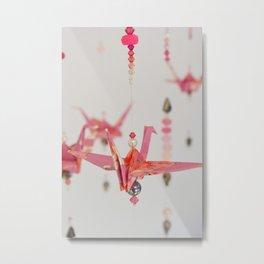 Origami Peace Crane Metal Print