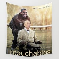 "obama Wall Tapestries featuring Putin And Obama in ""Les Intouchables"" by Luigi Tarini"