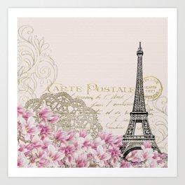 Carte Postale Eiffel x Floral Art Deco Art Print