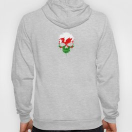 Flag of Wales on a Chaotic Splatter Skull Hoody