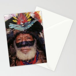 Papua New Guinea Villager At Sing Sing With Exotic Headdress Stationery Cards