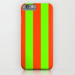 Bright Neon Green and Orange Vertical Cabana Tent Stripes iPhone Case