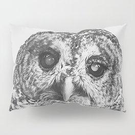 Hoo - black and white Pillow Sham