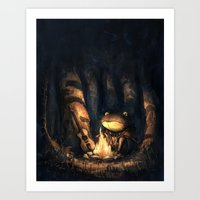 Campfire Frog Art Print