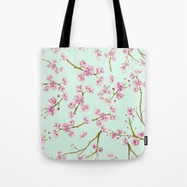 Spring Flowers - Mint and Pink Cherry Blossom Pattern Tote Bag