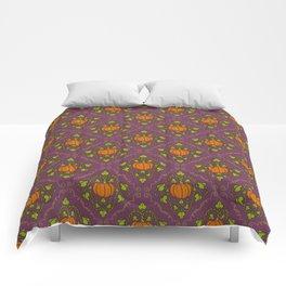 Pumpkin Damask - Purple Comforters