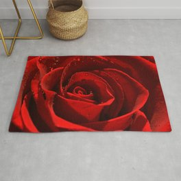 Red Rose with water drops 93 Rug