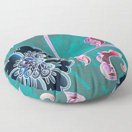Feng Shui Water Element Floral Oil Print Floor Pillow