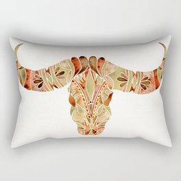 Water Buffalo Skull – Brown & Gold Rectangular Pillow