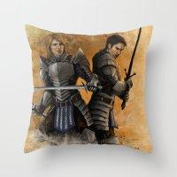 """dragon age Throw Pillows featuring Dragon Age - Grey Wardens by Barbara """"Yuhime"""" Wyrowińska"""