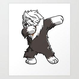 Funny Dabbing Old English Sheepdog Dog Dab Dance Art Print