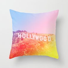 Colorful Hollywood Sign  Throw Pillow