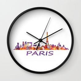 París City Skyline HQ Watercolor Wall Clock
