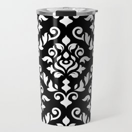 Damask Baroque Pattern White on Black Travel Mug