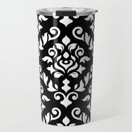 Damask Baroque Pattern White on Black Travel Mug