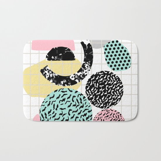 Amped - retro memphis throwback 80s style grid dots painting cut paper Bath Mat