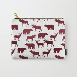 Plaid camping animals minimal bear moose deer nursery decor gender neutral woodland Carry-All Pouch