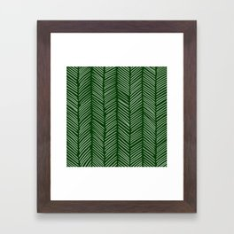 Forest Green Herringbone Framed Art Print