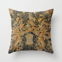 Vintage Golden Deer and Royal Crest Design (1501) Throw Pillow