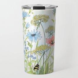 Floral Watercolor Botanical Cottage Garden Flowers Bees Nature Art Travel Mug