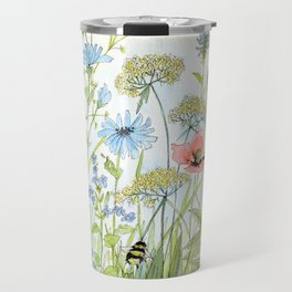 Floral Watercolor Botanical Cottage Garden Flowers Bees Nature Art Travel Mug