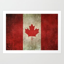 Old and Worn Distressed Vintage Flag of Canada Art Print