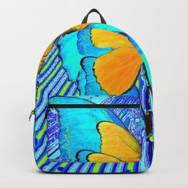 CONTEMPORARY BLUE & YELLOW BUTTERFLIES GRAPHIC ART Backpack