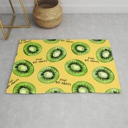 Kiwi Go Again Funny Kiwi Fruit Pun Pattern (yellow) Rug
