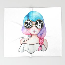 Summer Vibes Colourful Hair Girl Drawing Throw Blanket