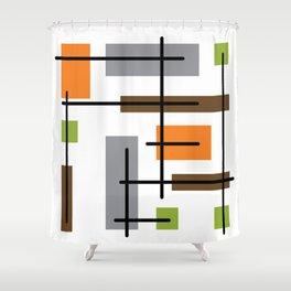 Mid Century Modern Cubicle Art Shower Curtain