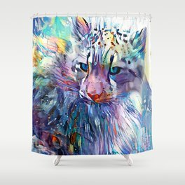 Impressions of a Snow Leopard Shower Curtain