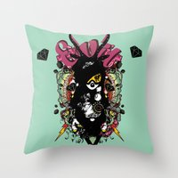 evil Throw Pillows featuring EVIL by DON'T NEED NO SAMURAI