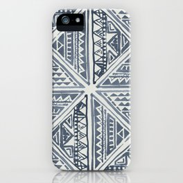 Simply Tribal Tile in Indigo Blue on Lunar Gray iPhone Case